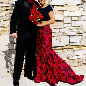 Two-piece black and red prom dress